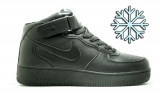Nike Air Force 1 Mid Black Leather Winter Women