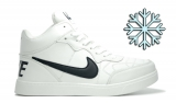 Кеды Nike White Black Leather Winter Woman