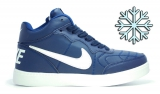 Кеды Nike Blue White Leather Winter Woman