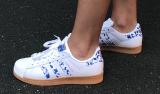 adidas superstar ii white blue brown woman