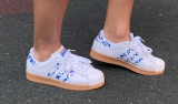 adidas superstar ii white blue brown woman