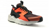 nike huarache black white orange woman